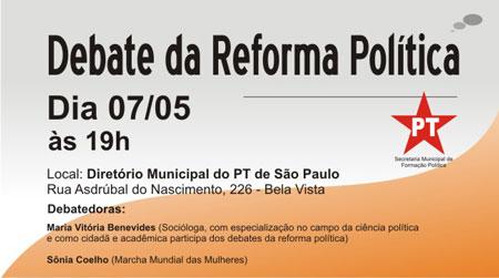 PT de São Paulo promove debate sobre reforma política