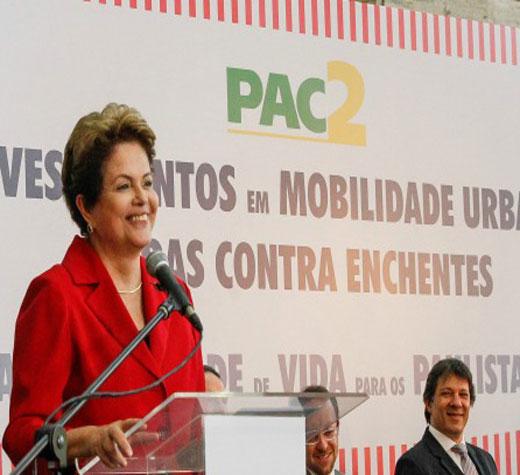 Dilma anuncia investimentos em mobilidade para São Paulo