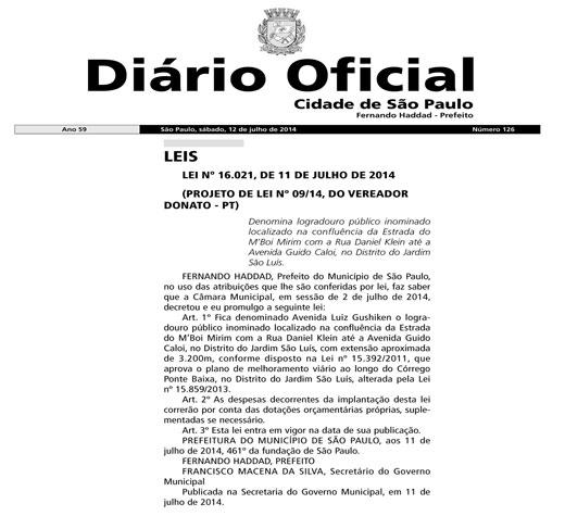 Avenida L. Gushiken: prefeito sanciona projeto de Donato