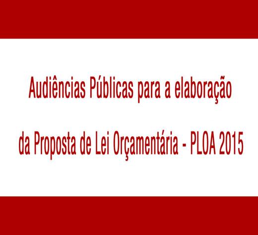 Divulgadas datas das audiências que debaterão orçamento 2015