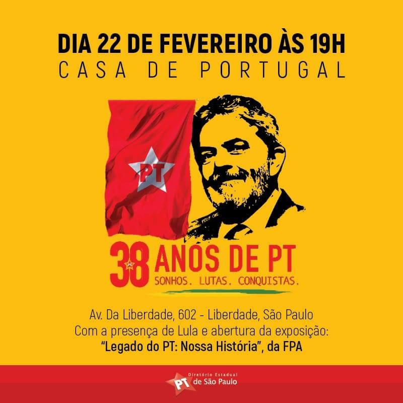 PT comemora 38 anos e lança candidatura Lula Presidente