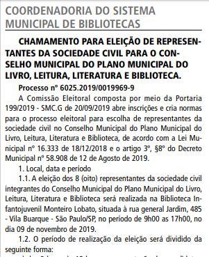 Marcada eleição do conselho do Plano Municipal do Livro