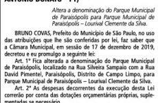 Parque de Paraisópolis passa a se chamar Lourival Clemente